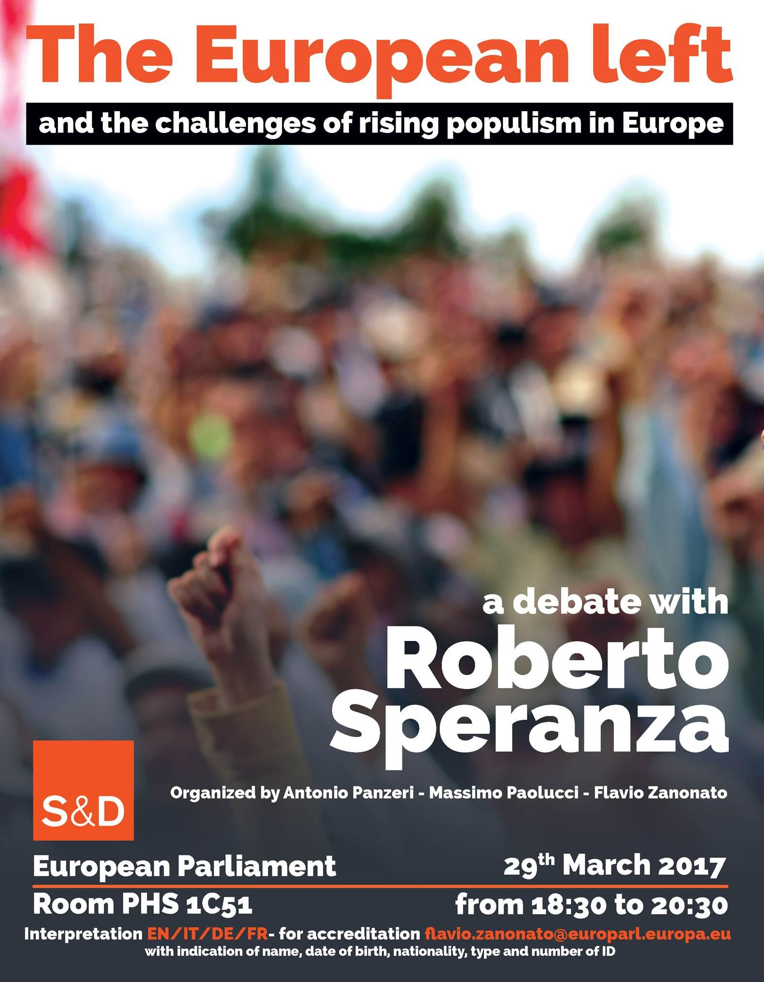 "Dibattito con Roberto Speranza – ""The European Left and the challenges of rising populism in Europe"""