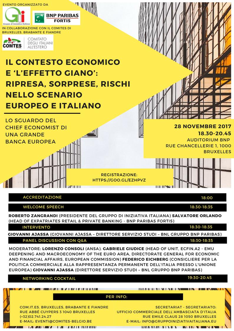 Il contesto economico e 'l'effetto Giano': ripresa, sorprese, rischi nello scenario europeo e italiano.
