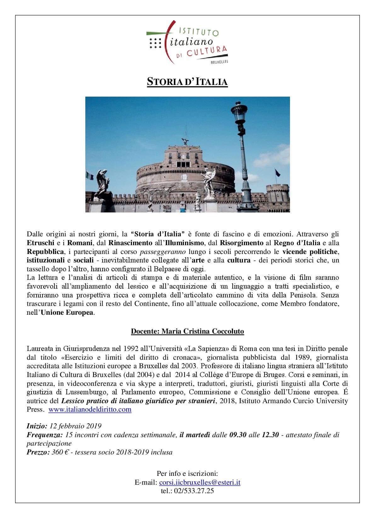 Lezioni di italiano parlando di storia e politica – IIC Bruxelles