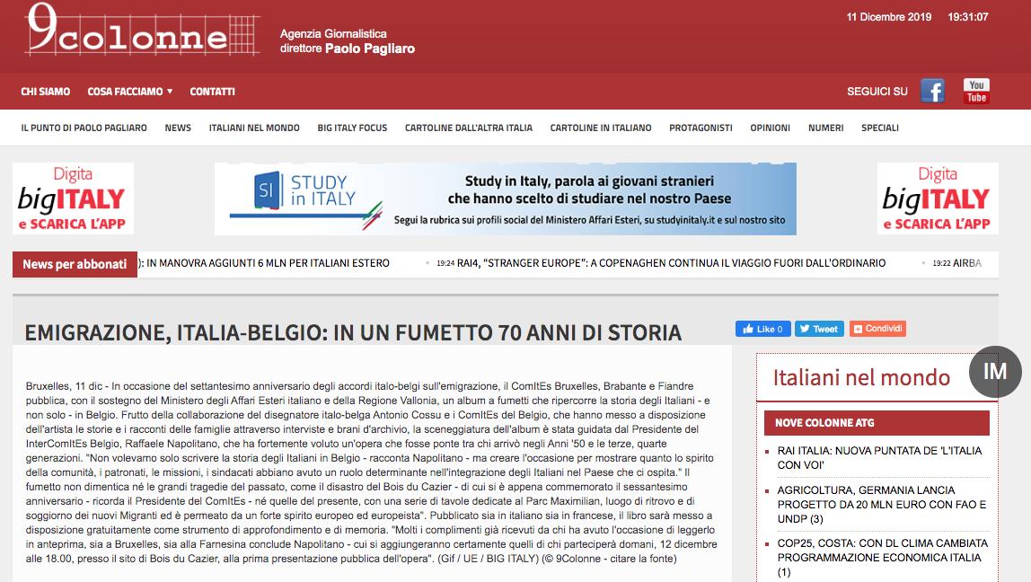EMIGRAZIONE, ITALIA-BELGIO: IN UN FUMETTO 70 ANNI DI STORIA (NOTIZIARIO 9COLONNE)