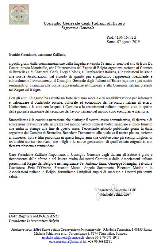 Lettera del CGIE al Comites Belgio