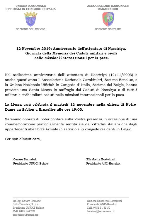 Commemorazione delle Italiane e degli italiani caduti in missioni di pace – 12/11/2019