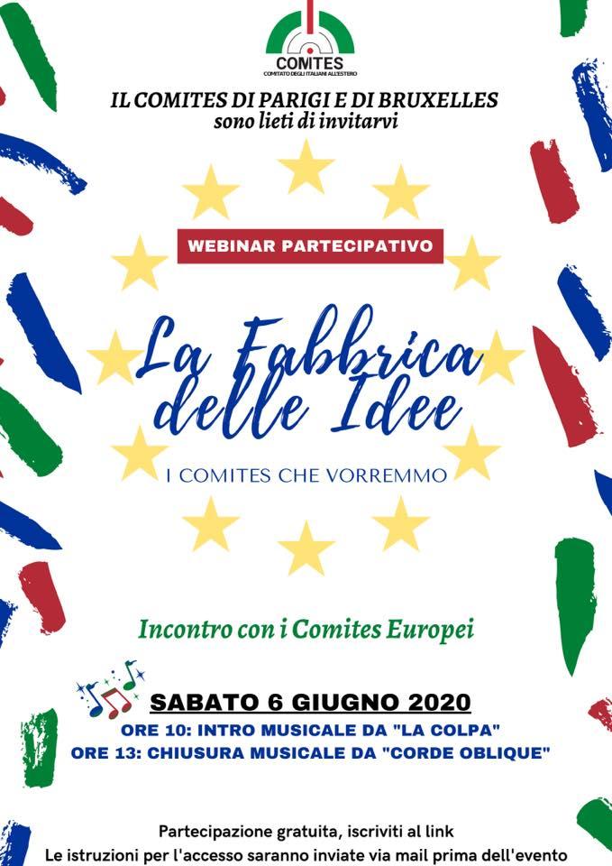 """Webinair """"La Fabbrica delle idee – I Comites che vorremmo"""" 6 giugno 2020"""